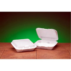 Hinged, White Foam Container, 3 Compartments, Small Size