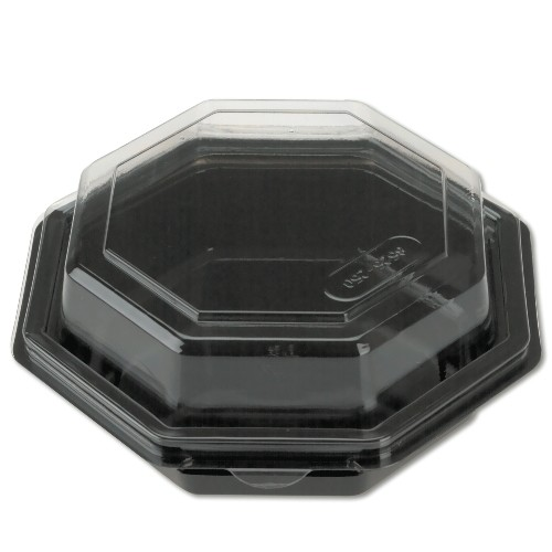 Hinged Plastic Container- Bowl Octagon- Black Base wit Clear Top