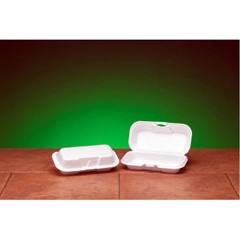Hinged with Double Lock, White Foam Container - Hotdog Size