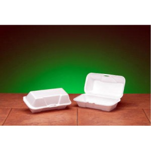 Hinged with Double Lock, White Foam Container - Medium Hoagie Size