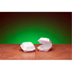 Hinged with Double Lock, White Foam Container - Medium Sandwich Size