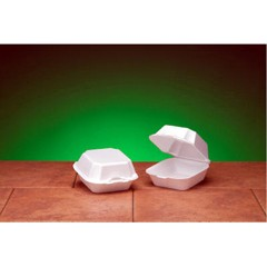 Hinged with Double Lock, White Foam Container- Large Sandwich Size
