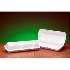 Hinged with Double Lock, White Foam Containter - Extra Large Hoagie Size