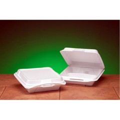 Hinged with Double Lock Closure, 3 Compartment, White Foam Container - Large