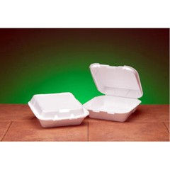 Hinged with Snap-it Lid, White Foam Container- Medium Size