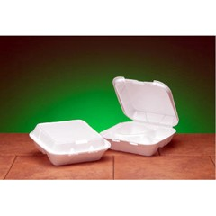Hinged with Snap-it Lid, White Foam Container, 3 Compartments - Medium Size