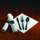 Hoffmaster CaterWrap Heavyweight Cutlery Combo, Fork/Spoon/Knife/Napkin, Black (Box of 100 sets)
