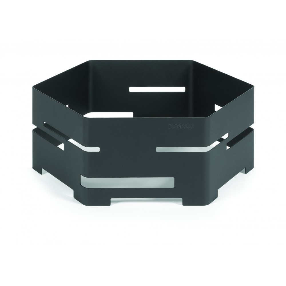 "Rosseto SM135 Large Black Matte Steel Hexagon Riser 18"" x 18"" x 7""H"