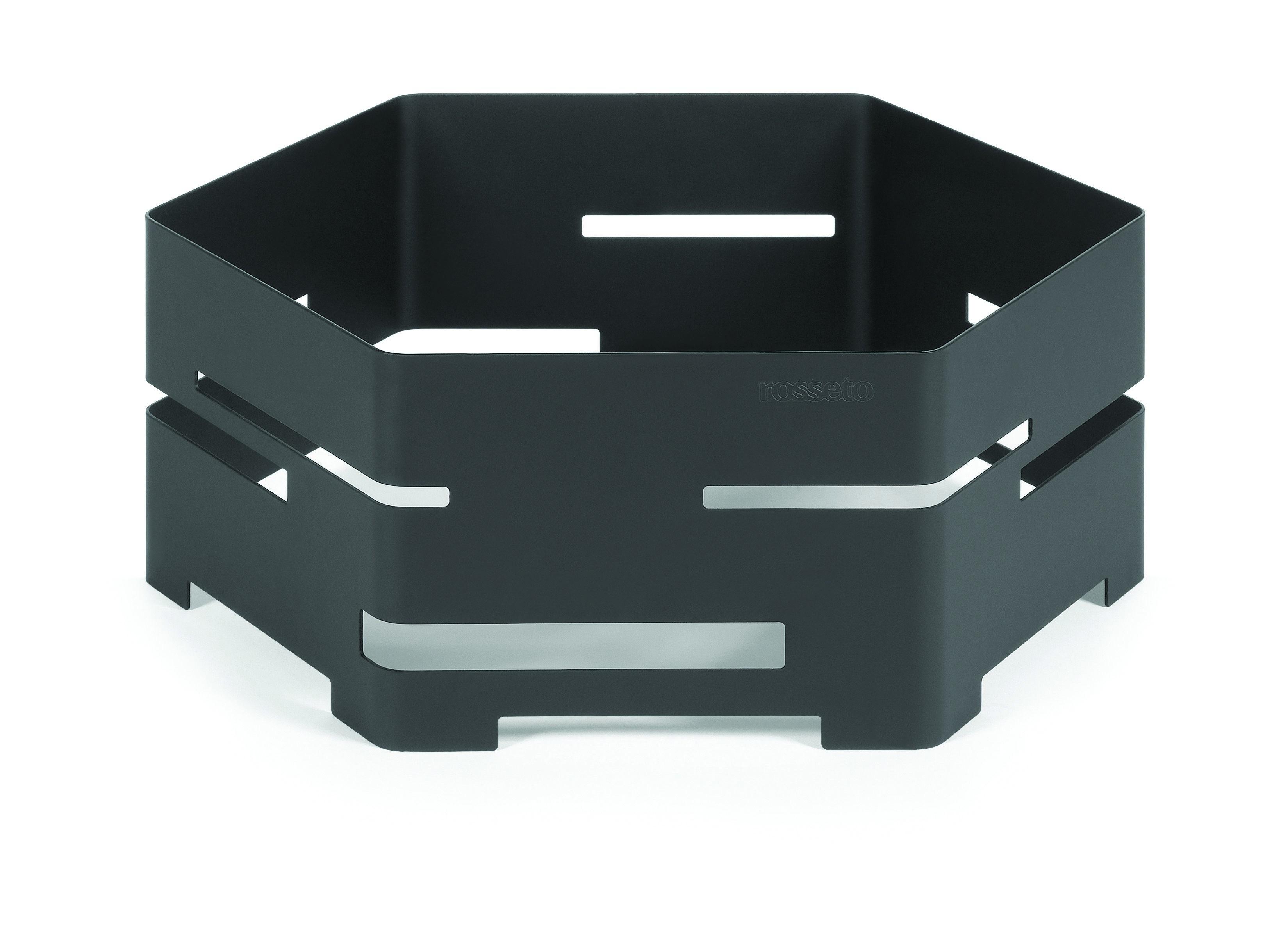 "Rosseto SM134 Medium Black Matte Steel Hexagon Riser 16"" x 16"" x 6""H"