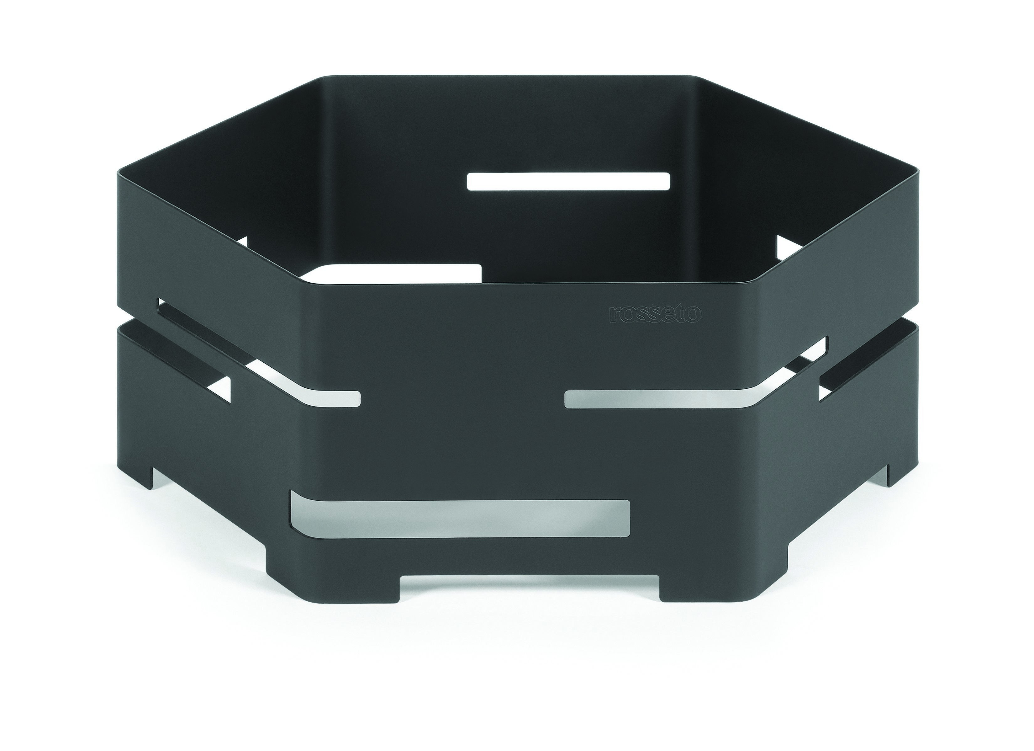 "Rosseto SM133 Small Black Matte Steel Hexagon Riser 14"" x 14"" x 5""H"