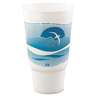Dart Horizon Hot/Cold Foam Drinking Cups, 32 oz., Teal/White, 400/Carton