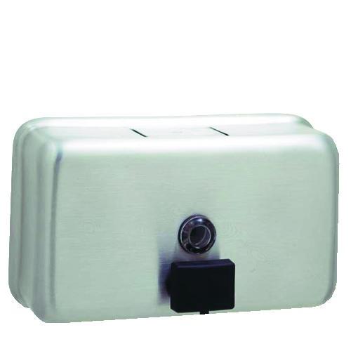 Horizontal Liquid Soap Dispenser, 40 Oz, Metal