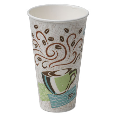 Hot Cups, Paper, 20oz, Coffee Dreams Design, 25/Pack, 20 Packs/Carton