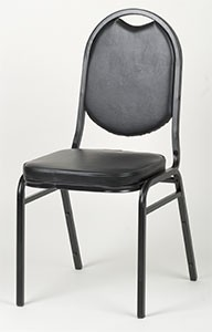 "Royal Industries ROY719B 33"" Round Back Stacking Chair, Black"