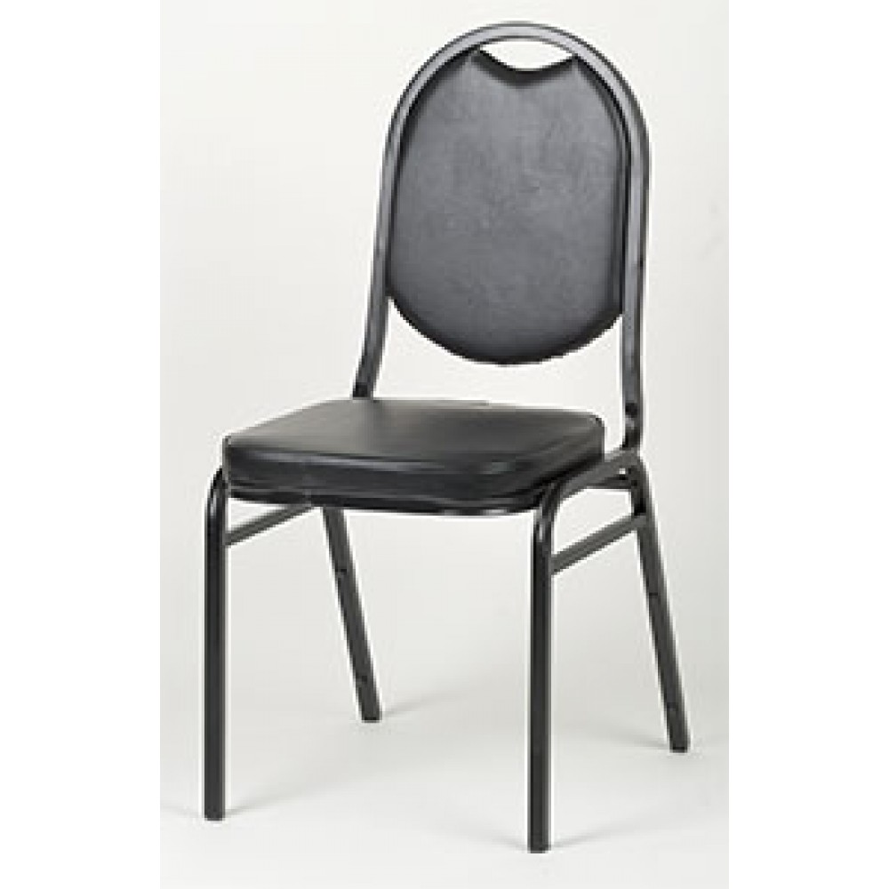 "33"" Round Back Stacking Chair, Black"