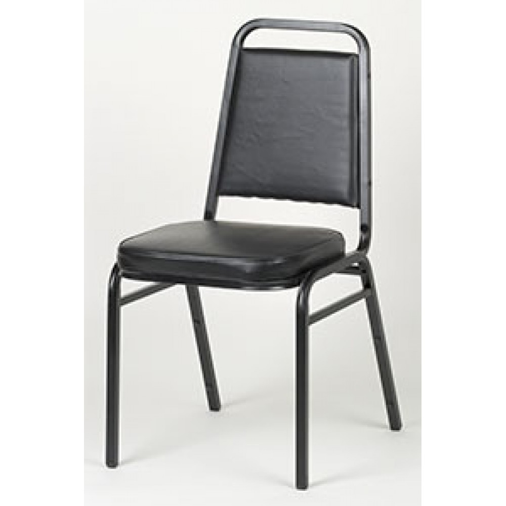 "Royal Industries roy718b 33"" Square Back Stacking Chair, Black"