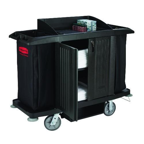 Housekeeping Cart with Doors & Vinyl Bag, Black