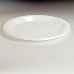 Huhtamaki Plastic Plates, 9 Inches, White, Round, Heavyweight, 125/Pack (Box of 500)