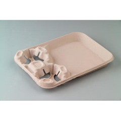 Huhtamaki StrongHolder Molded Fiber 2-Cup Narrow Carrier w/Food Tray, 9-3/4x8-3/8x1-5/8 (Box of 400)