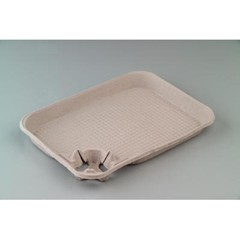 Huhtamaki StrongHolder Molded Fiber 1-Cup Carrier with Food Carrier 15 x 11 x 2, 8-22 oz (Box of 200)