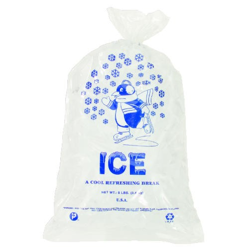 Ice Bag, 12 x 21, 10-Pound Capacity, 1.50 Mil, Clear/Blue, 1000/Case