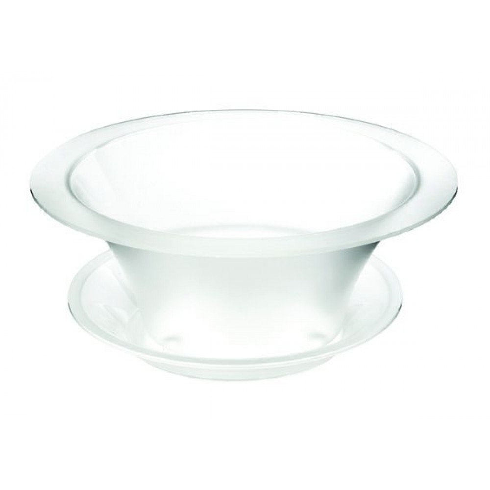 """Rosseto SA112 Round Frosted Acrylic Bowl Ice Bath Cooler & Drip Tray 17"""" x 17"""" x 9""""H"""