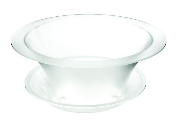 "Rosseto SA112 Round Frosted Acrylic Bowl Ice Bath Cooler & Drip Tray 17"" x 17"" x 9""H"