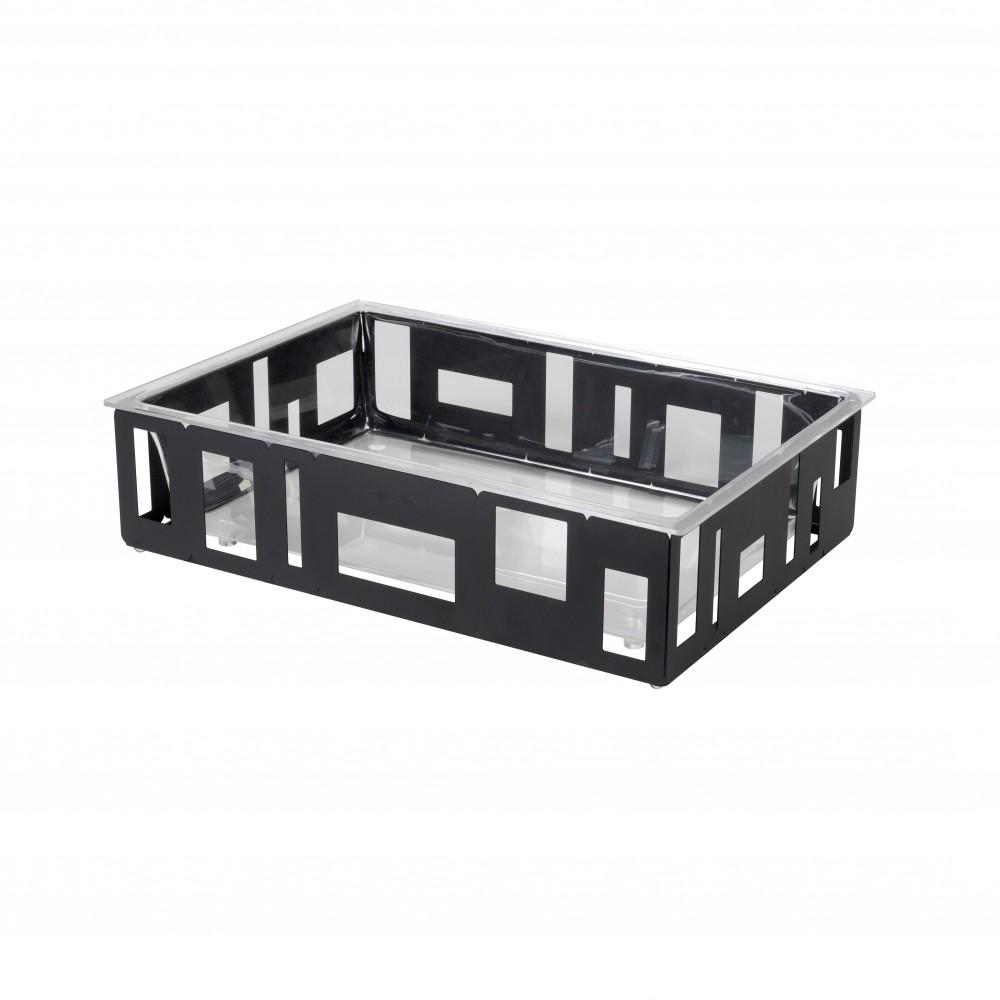 "Rosseto SM114 Extra Large Rectangular Black Matte Ice Tub With Acrylic Insert 26.5"" x 18.5"" x 7""H"