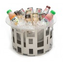 """Rosseto SM180 Tall Round Black Matte Steel Ice Tub With Frosted Acrylic Ice Bath & Drip Tray Insert 17"""" x 17"""" x 10""""H"""