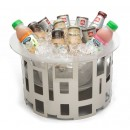 "Rosseto SM183 Tall Round Stainless Steel Ice Tub With Frosted Acrylic Ice Bath & Drip Tray Insert 17"" x 17"" x 10""H"