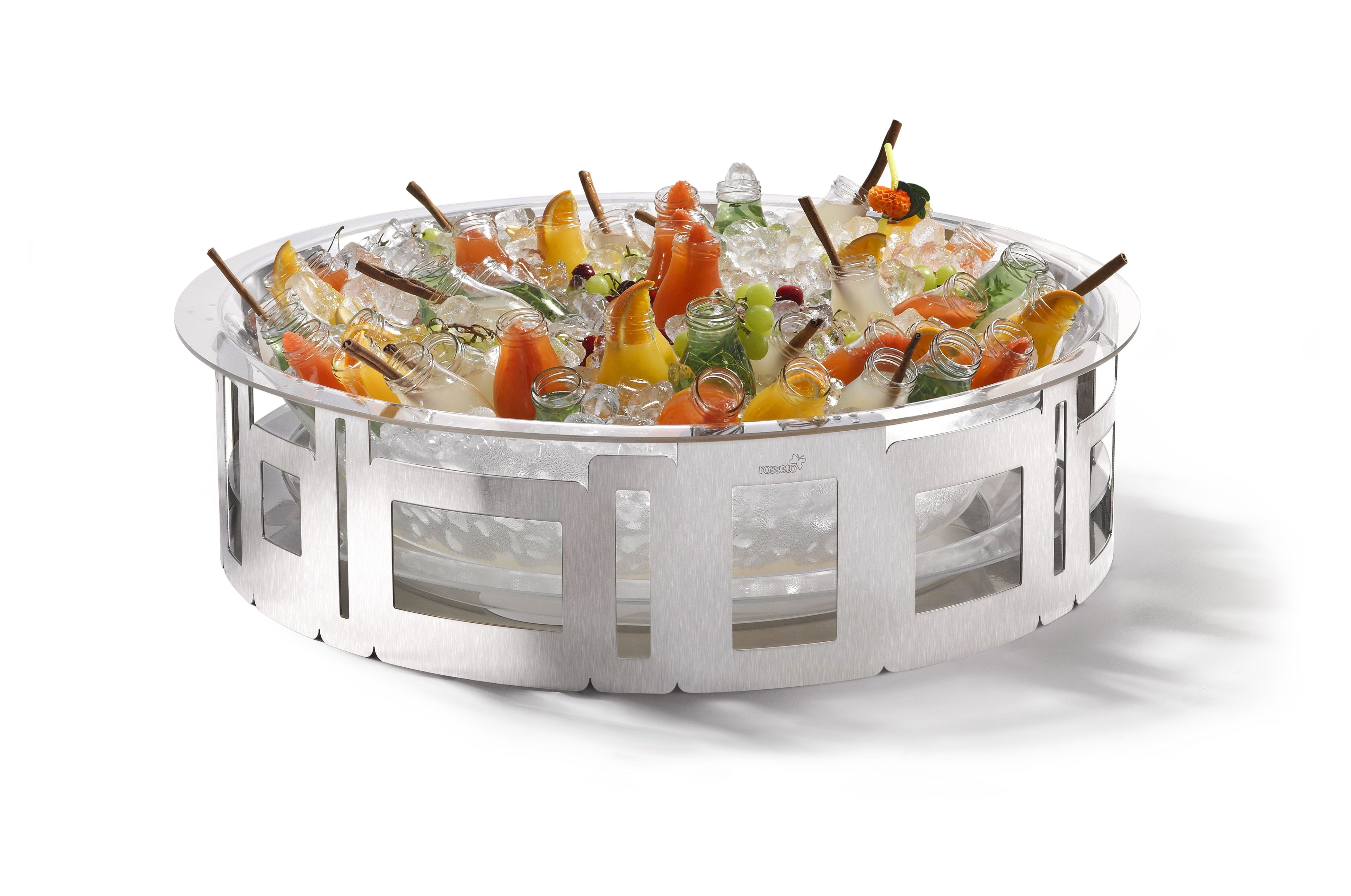 """Rosseto SM187 Mega Round Stainless Steel Ice Tub with Acrylic Insert 29"""" x 29"""" x 7.73""""H"""