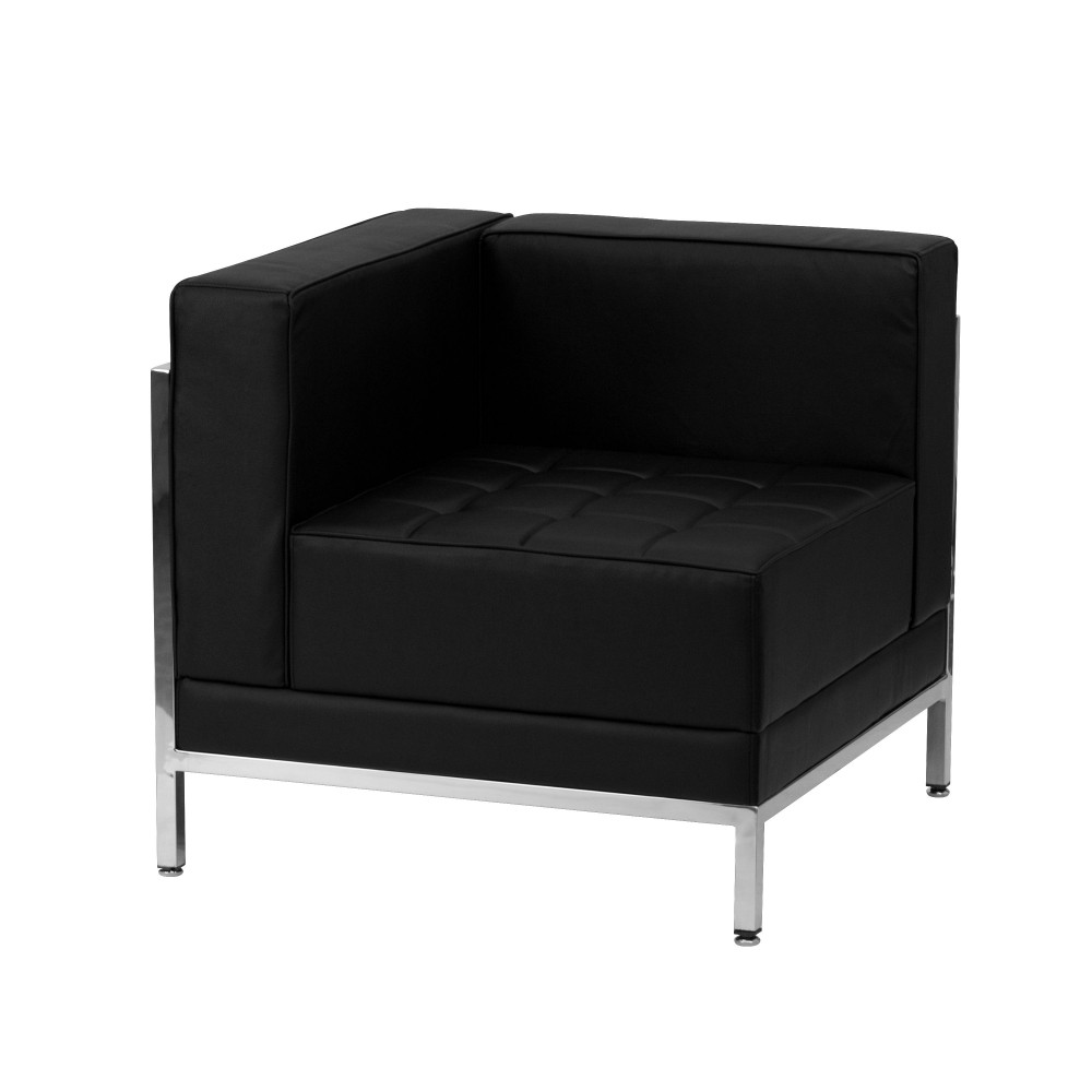 Flash Furniture ZB-IMAG-LEFT-CORNER-GG Imagination Series Contemporary Black Leather Left Corner Chair