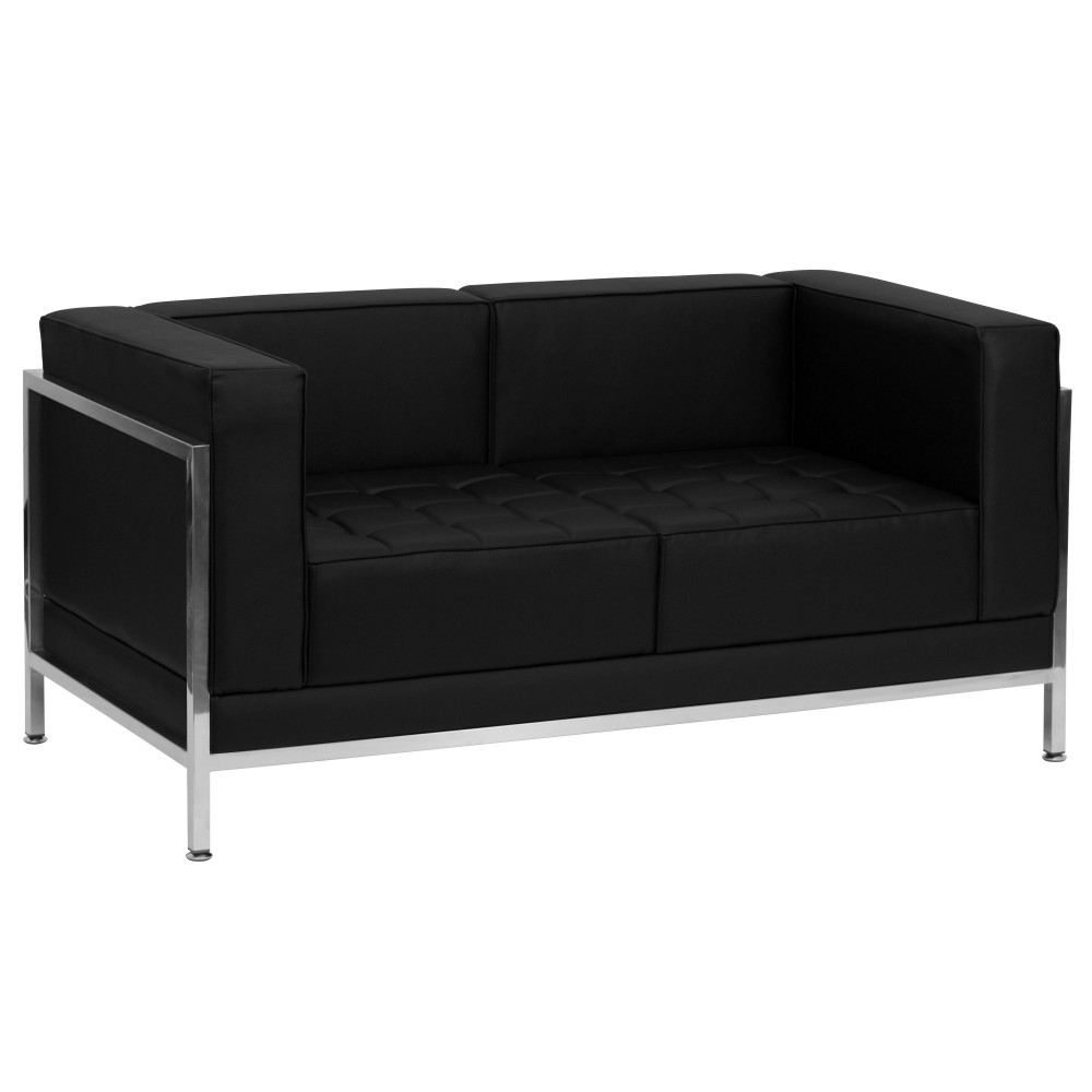 Imagination Series Contemporary Black Leather Love Seat