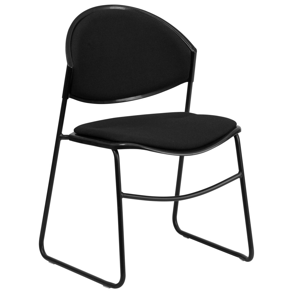 Flash Furniture RUT-CA02-01-BK-PAD-GG HERCULES Series 550 Lb. Capacity Black Padded Stack Chair with Black Frame