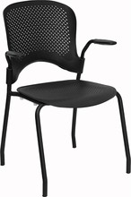 Impact Resistant Black Polypropylene Perforated Stacking Side Chair with Arms