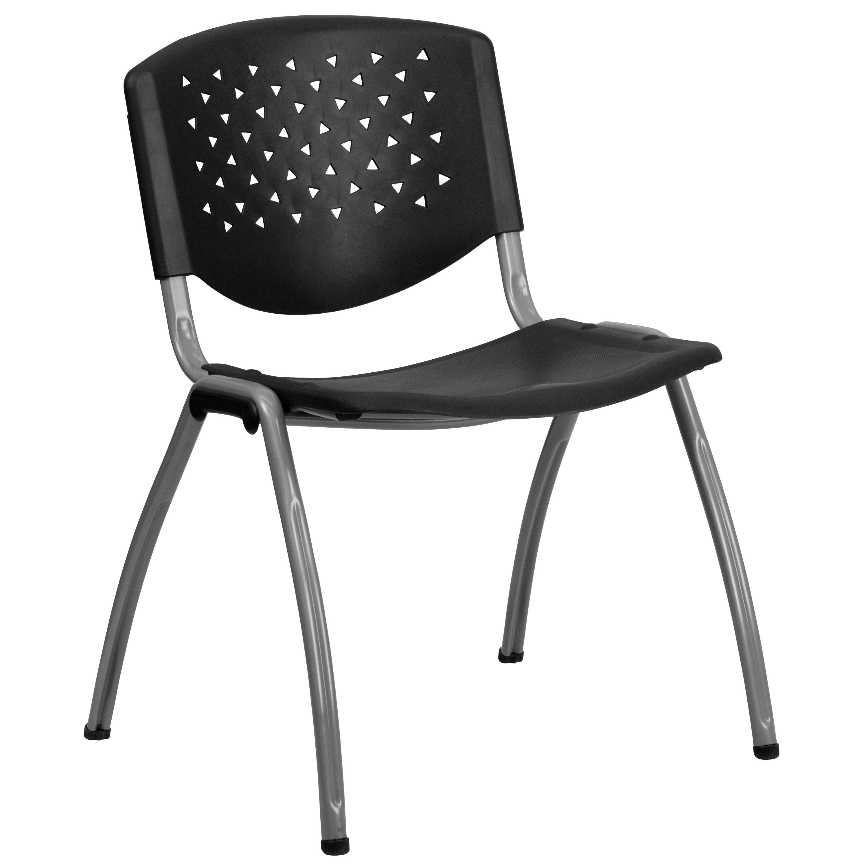 Impact Resistant Black Polypropylene Stack Chair with Titanium Frame Finish