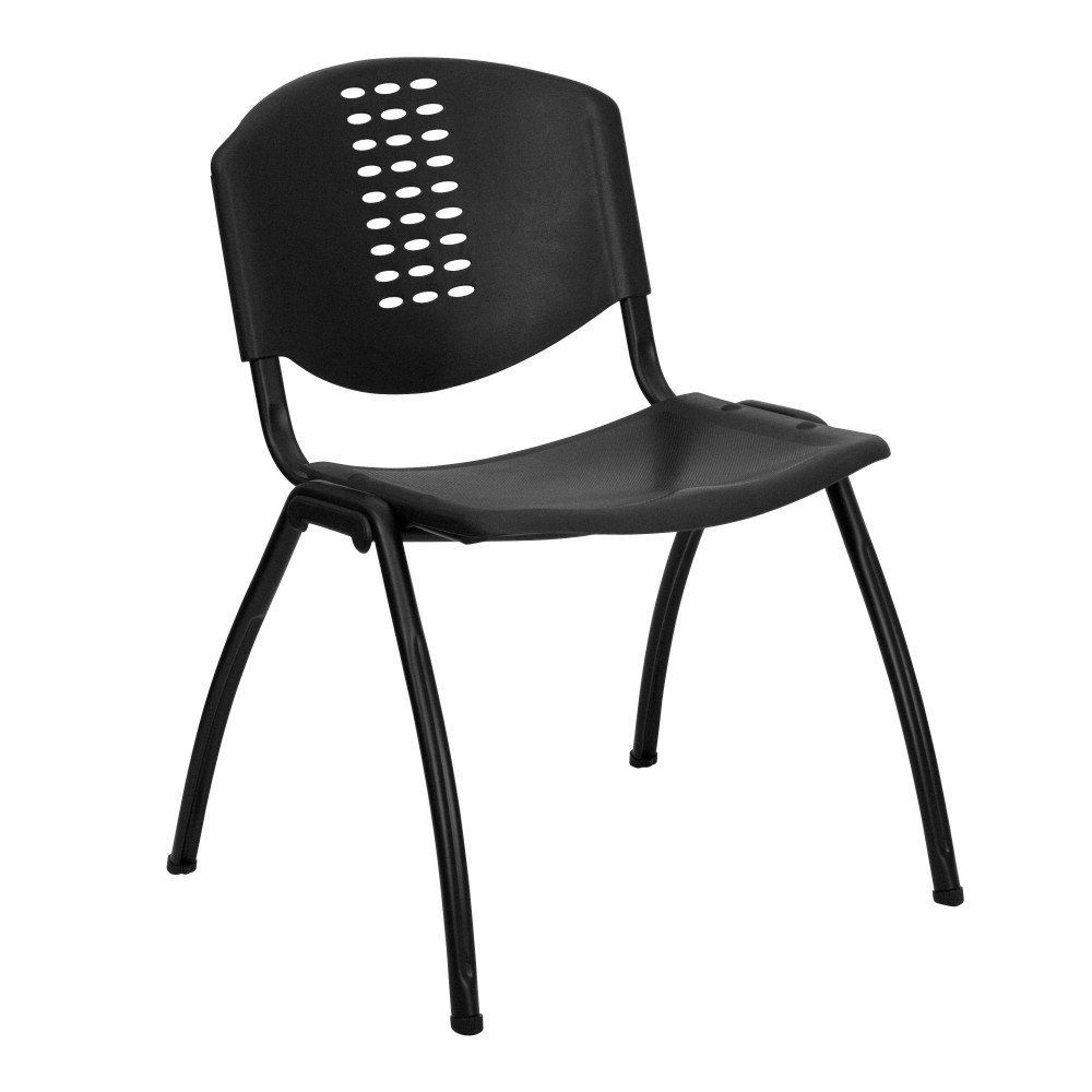 Impact Resistant Black Polypropylene Stack Chair with Black Frame, Vented Back Stacking