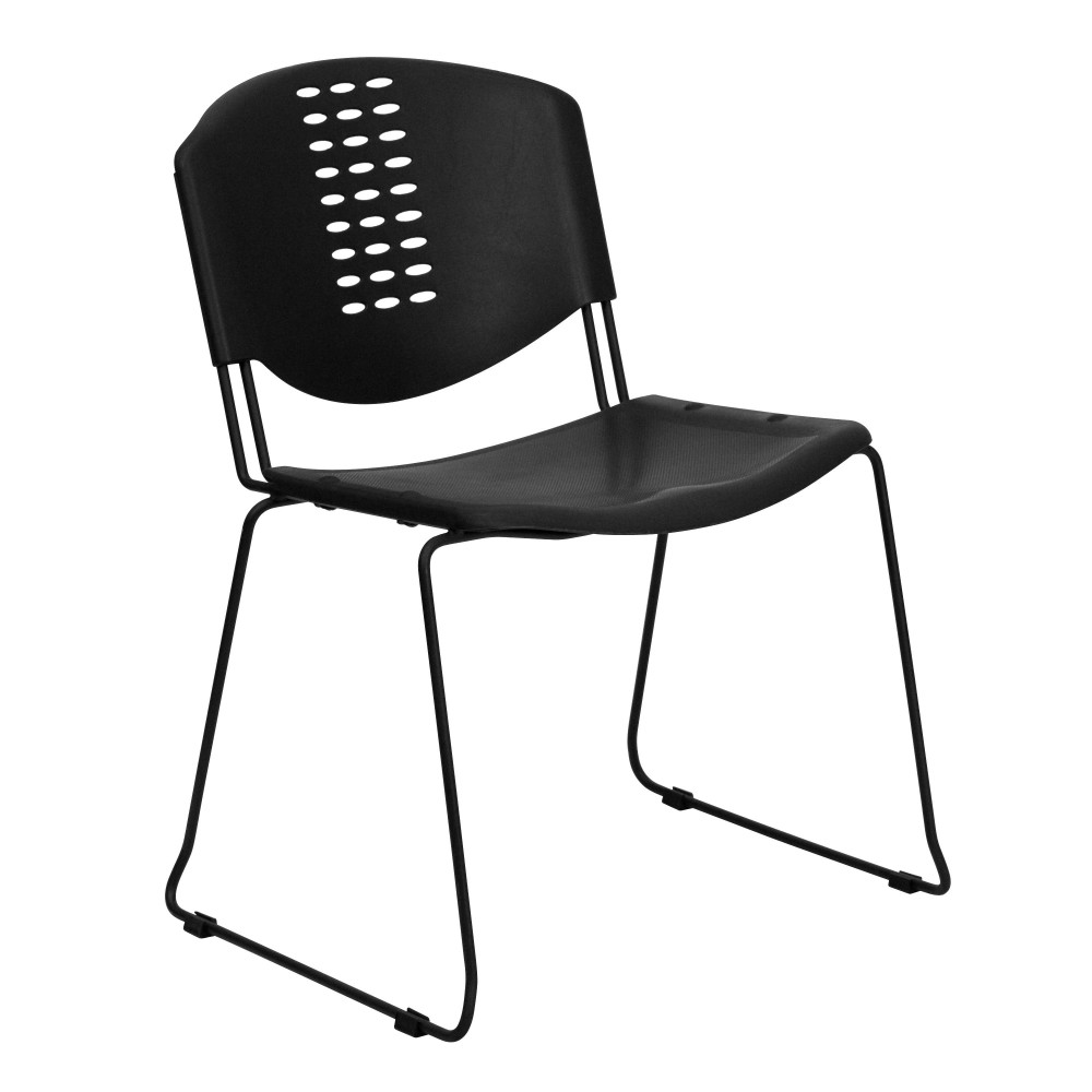 Impact Resistant Black Polypropylene Stack Chair with Black Frame, Vented Back