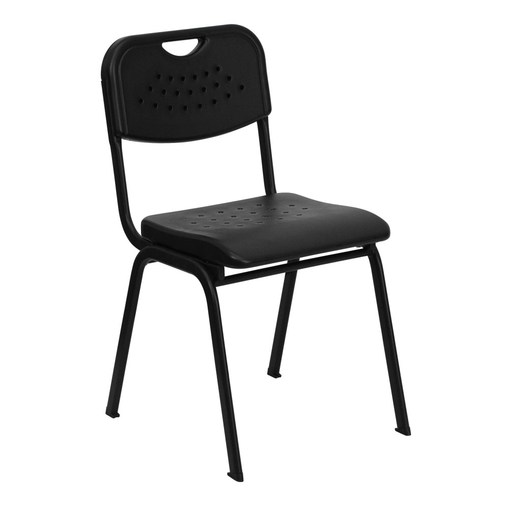Flash Furniture RUT-GK01-BK-GG IHERCULES Series 880 Lb. Capacity Black Plastic Stack Chair with Black Frame