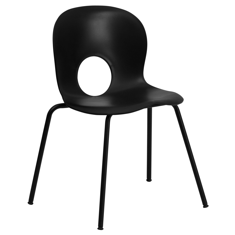 Flash Furniture RUT-NC258-BK-GG HERCULES Series 770 Lb. Capacity Designer Black Plastic Stack Chair with Black Frame