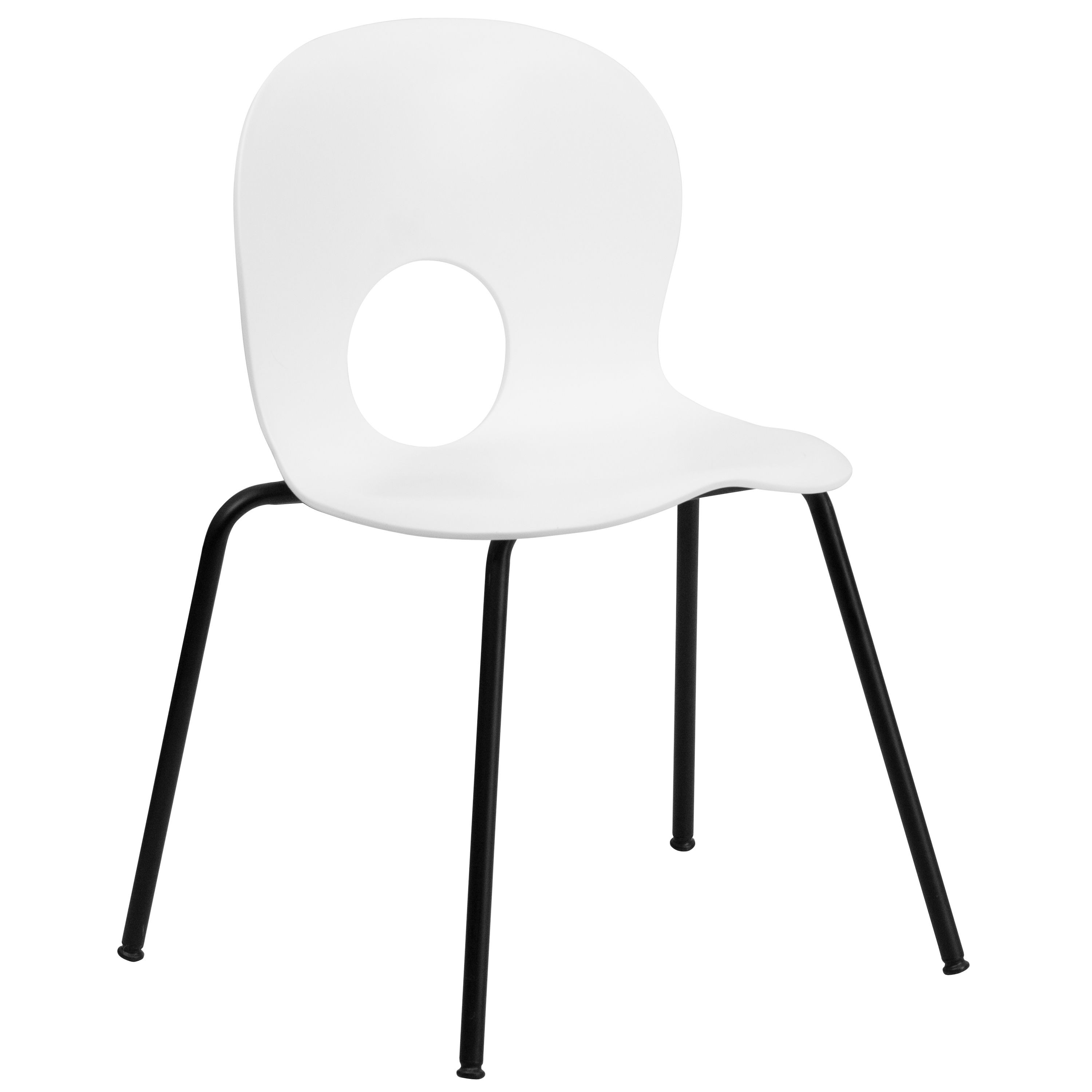 Flash Furniture RUT-NC258-WHITE-GG HERCULES Series 770 Lb. Capacity Designer White Plastic Stack Chair with Black Frame
