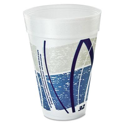 Dart Impulse Hot/Cold Foam Drinking Cups, 32 oz., White/Blue/Gray, 1000/Carton