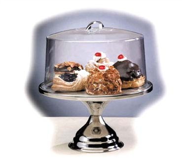 TableCraft 821422 Stainless Steel Round Cake Stand with Cover