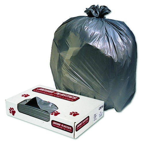 Industrial Strength Commercial Garbage Can Liners, 60 gal, 1.3 mil, Gray