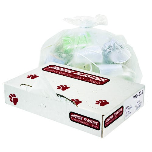 Industrial Strength Commercial Garbage Can Liners, 60 Gal, .9 Mil, White