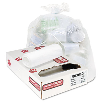 Industrial Strength Commercial Coreless Roll Can Liners, 55 gal, 13 microns, 36