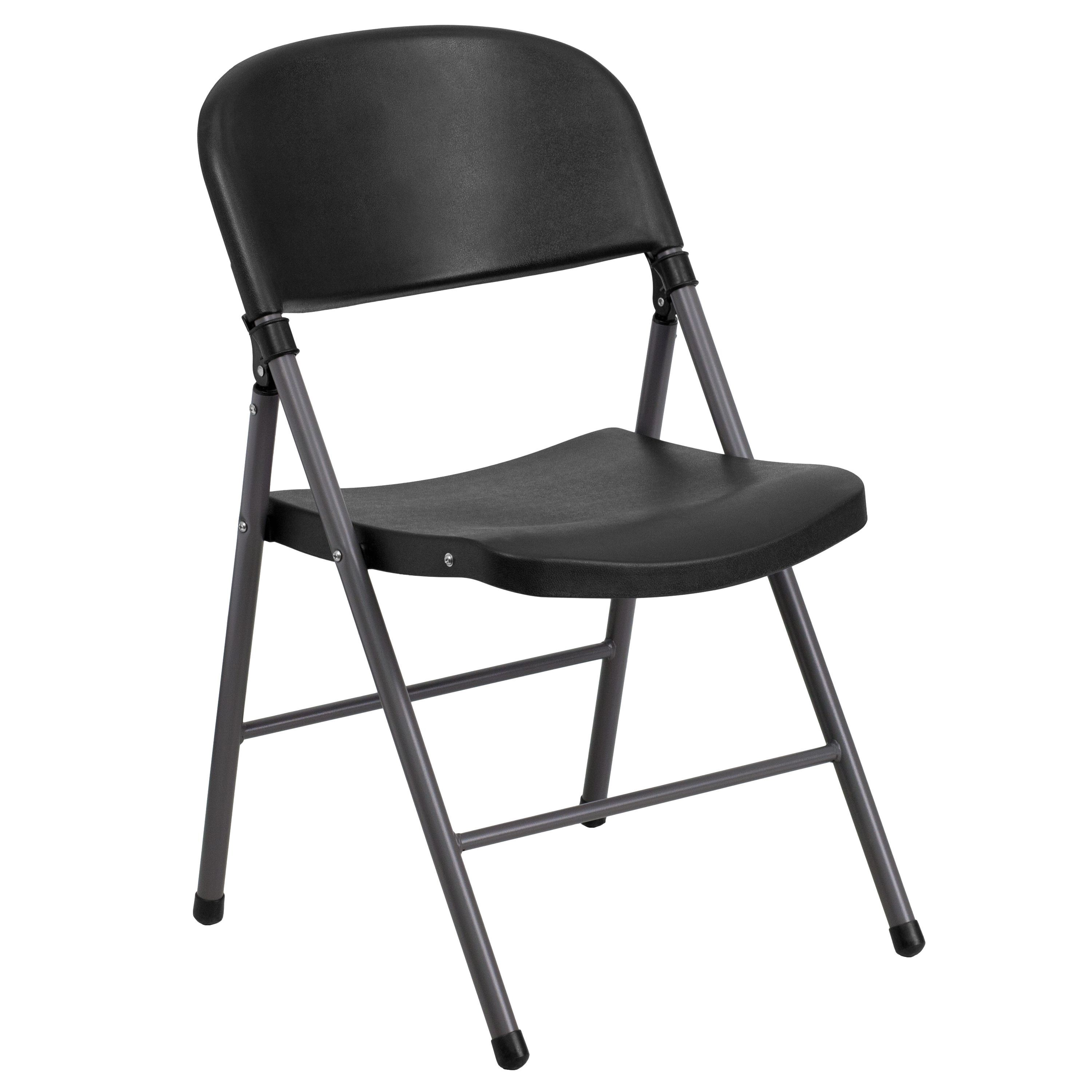 Flash Furniture DAD-YCD-50-GG Injection Molded Black Plastic Folding Chair