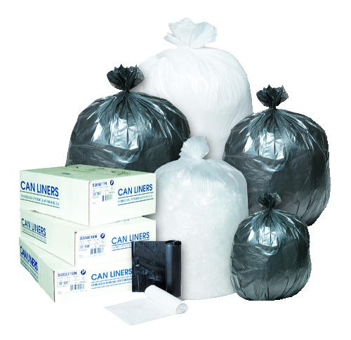 Inteplast Group Garbage Can Roll Liner, High-Density, Black, 6 Mic (Box of 1000)