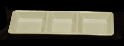 "Thunder Group PS5103V Passion Pearl Melamine 3-Compartment Rectangular Tray 15"" x 6-1/4"""