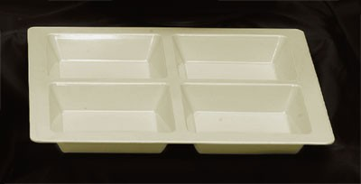 Ivory Melamine 4-Compartment Square Tray - 13-1/2